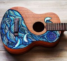 Don't Be Afraid To Learn To Play Guitar! Maybe you aren't sure how to play guitar. You can play guitar as long as you're willing to practice and use these tips. Ukulele Art, Guitar Art, Cool Guitar, Ukulele Songs, Skateboard Design, Skateboard Art, Ukelele Painted, Painted Guitars, Ukulele Design