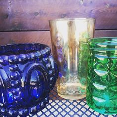 Majestic colors for your kitchen. #theclutterhouse #localaz #homedecor #glassware