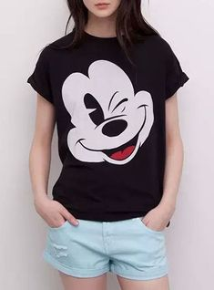 3b2ea55636 Women's T-Shirt - Mickey Mouse / Short Sleeved / Black White Red Minnie  Mouse