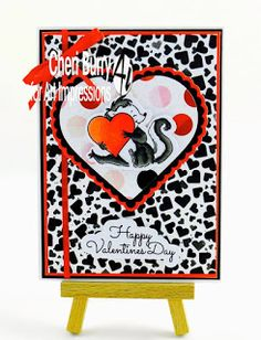 Art Impressions Rubber Stamps: Ai Valentine's Day: In The Air Set (SKU 4753) ...handmade card with skunks.