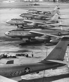 U.S. Air Force B-47 Stratojets on the tarmac at MacDill Air Force Base, Tampa Florida