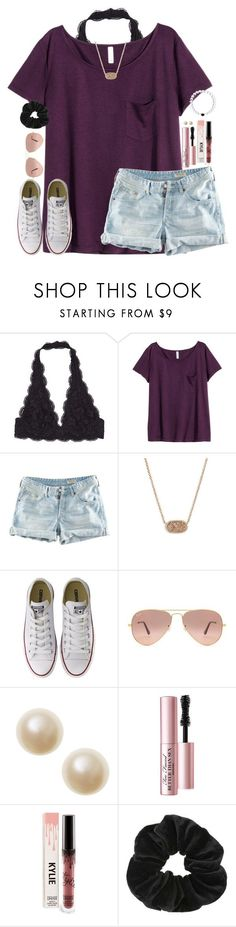"""""""Untitled #1806"""" by southernstruttin ❤ liked on Polyvore featuring H&M, Kendra Scott, Converse, Ray-Ban, Too Faced Cosmetics and Miss Selfridge"""