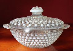 Fenton Clear and Milk  Crystal Hobnail  Bowl by AnythingDiscovered, $54.00