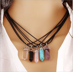 Natural Quartz Crystal Point Chakra Healing Gemstone Pendant Necklace Stone Nice in Jewelry & Watches, Fashion Jewelry, Necklaces & Pendants Chakra Necklace, Quartz Necklace, Gemstone Necklace, Crystal Necklace, Beaded Necklace, Necklace Chain, Bullet Necklace, Gemstone Pendants, Amethyst Jewelry