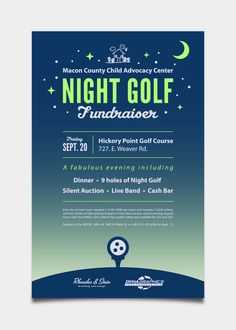 MCCAC Night Golf Fundraiser by Rhoades & Stein, via Behance Ad Design, Flyer Design, Event Poster Design, Event Posters, Poster Designs, Movie Posters, Fundraising Poster, Event Flyers, Graphic Design Inspiration