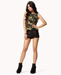 Bejeweled Camo Muscle Tee | FOREVER21 - 2045978301