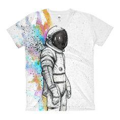 Rainbow Astronaut - Women's V-Neck T-Shirt