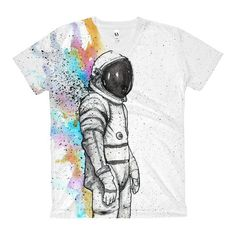 Rainbow Astronaut - Women's V-Neck T-Shirt