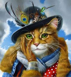 Steampunk Puss In Boots~ By Wim Bals~ Beautiful! ( Anthropomorphic Dog Art)