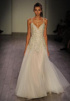 Hayley Paige Fall 2016 a-line wedding dress with beaded embellishments and spaghetti straps | https://www.theknot.com/content/hayley-paige-wedding-dresses-bridal-fashion-week-fall-2016