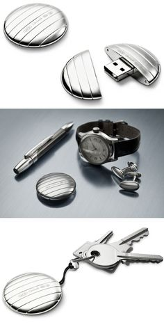 LaCie/Christofle's silver plated USB Key, called Galet.