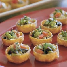 Bruschetta-Goat Cheese Cups from Southern Living.  Will have to try these for my next party!