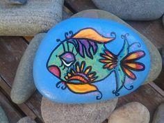Ventura Rocks hand painted beach stone by Cassandra