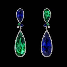 @anabelachan.  Luscious Green & Royal Blue . Introducing the Emerald Sapphire Papillon Earrings with detachable drops