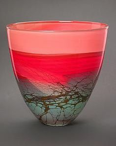 """""""Canyon Series Bowl"""" Art Glass Vase Created by Steven Main Fused Glass, Stained Glass, Blown Glass, Art Of Glass, Cut Glass, Design Floral, Pots, Ceramic Wall Art, Glass Design"""