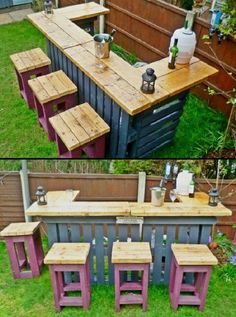 20 Creative Patio / Outdoor Bar Ideas You Must Try at Your Backyard Diy Pallet Projects Backyard bar creat Creative Ideas Outdoor Patio Backyard Projects, Diy Pallet Projects, Outdoor Projects, Wooden Pallet Projects, Bar Pallet, Pallet Patio, Pallet Couch, Pallet Bar Stools, Pallet Stool