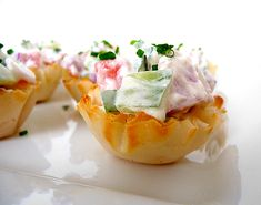 cucumber tomato bruschetta appetizer in phyllo tart shells - sounds like summer!