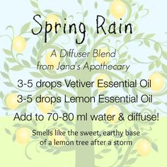 Spring Rain A cleansing, spring diffuser blend from Jana's Apothecary. These oils can be purchased at www.mydoterra.com/kellyjanice