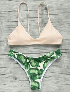 59cfa1d3283 Spaghetti Straps Palm Tree Bikini - Light Apricot Pink S