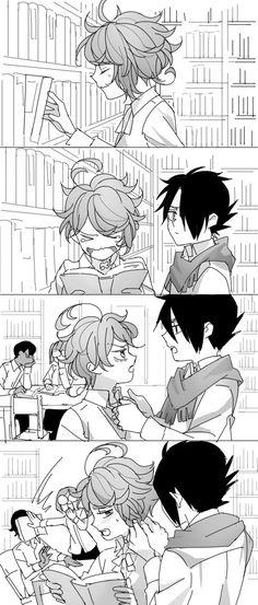 Ugh, how is Ray not a husband material? Btw, the funny background event in the last panel lol Otaku Anime, Manga Anime, Cute Funny Pics, Happy Tree Friends, Couple Cartoon, Land Art, Anime Demon, Anime Comics, Neverland