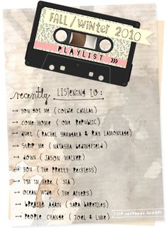 - for college scrapbook-> favorite songs from VIC radio (freshman year)