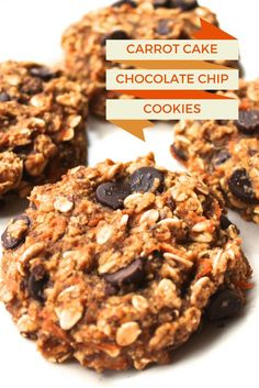 Healthy Carrot Cake Chocolate Chip Cookies (vegan, gluten-free and made without oil or refined sugar)