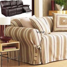 Dual Reclining SOFA Slipcover Shabby Cottage Linen Stripe Recliner Couch Slip-Cover u2022 Sure Fit & Reclining SOFA Slipcover Suede Taupe adapted for Dual Recliner ... islam-shia.org