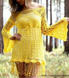 tunica amarilla con flecos