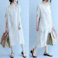 Women embroidery casual loose dress