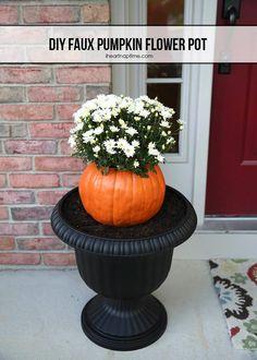 DIY Hallowen Crafts : DIY pumpkin flower pot