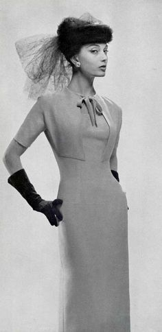 VINTAGE.  Marie-Hélène in elegant jersey cocktail dress, Lanvin-Castillo. 1956