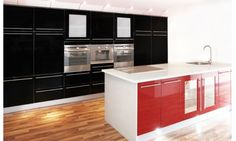 This Alto Gloss Black and Gloss China Red shows how cabinet doors are the ultimate way to define the style of your kitchen. Combining different door colours is an on trend way of creating a unique space. With so many kitchen doors to choose from visit: http://www.premier-kitchens.co.uk/ for ideas and inspiration
