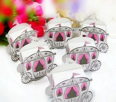 Cinde carriage favor box 50PCS/LOT baby shower favors box wholesale Free shipping $16.00