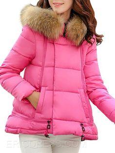 ericdress свободно равнине меховой воротник пальто Пальто