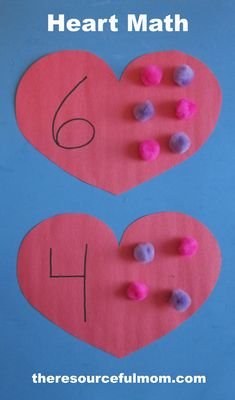 Heart Math—A fun Valentines learning activity. Valentines Games, Valentine Theme, Valentine Crafts For Kids, Valentines Day Activities, Preschool Lessons, Preschool Activities, Activities For Kids, Math Crafts, Montessori