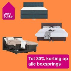 Nu bij Leenbakker: Korting boxsprings tot 30% Leenbakker Ben jij toe aan een nieuw comfortabel bed in de vorm van een boxsprings? Dan kan je nu bij Leenbakker profiteren van kortingen tot ma... #Bedden #Boxsprings #Leenbakker