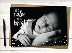 Silent Night Card With Custom Photo Family by QuillDesignCompany