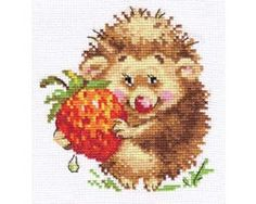 Counted Cross Stitch Kit by Alisa - Hedgehog with Strawberries by HandmadeTreasureForY on Etsy