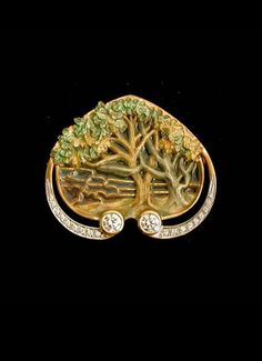 Masriera Enameled Gold Brooch. With fired enamel and diamond. | Copyright 2015 Hartmann Jewelers.