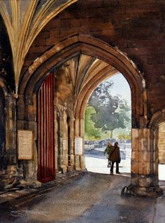 College Gate Durham City by Stuart Fisher Family History Book, History Books, Durham England, Durham City, St Johns College, Watercolor Paintings, Watercolours, Charcoal Sketch, Most Beautiful Cities
