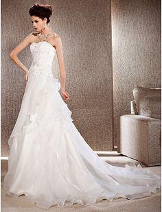 a line wedding dresses,A-line Strapless Court Train Organza And Lace Wedding Dress, wedding dresses, wedding dresses sale Free shipping 092526ea