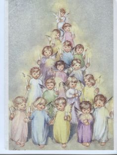 Vintage Brownie Line Christmas Card : Angels in a Pyramid Erica von Kager