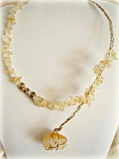 Contemporary design Citrine necklace  OOAK  gem by AppoloniasGifts, $31.95