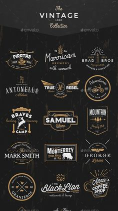 Buy The Vintage Logo & Badge Collection by EAMejia on GraphicRiver. 35 Handcrafted logos ideally to start a new branding project. Also, can be used as labels, insignia or badges. Logo Inspiration, Inspiration Fitness, Vintage Logo Design, Logo Vintage, Style Vintage, Vintage Designs, Typography Logo, Lettering, Plakat Design