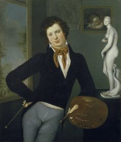 Self-Portrait by Moritz Daniel Oppenheim, 1814-16. Moritz Oppenheim's life and work epitomize German Jewry's journey from traditional life to modernity.  Born in the ghetto of Hanau, he studied academic painting, an opportunity previously unavailable to Jews. In this work, one of the earliest self-portraits by a Jewish artist, a young Oppenheim depicts himself proudly holding his palette, a vivid testimony to the emergence of Jewish artists during the 19th century.