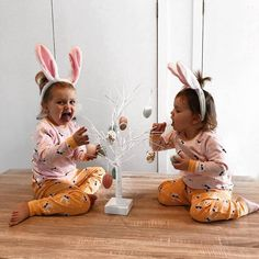 Spotted: two very egg-cited bunnies 🐣 HURRY! Shop OFF* via the link in our bio. Offer ends Sunday April at AEST Hoppy Easter, Easter Bunny, Easter Eggs, Baby Boy Outfits, Outfits For Teens, Pyjamas, Pjs, Bedtime, Baby Dress