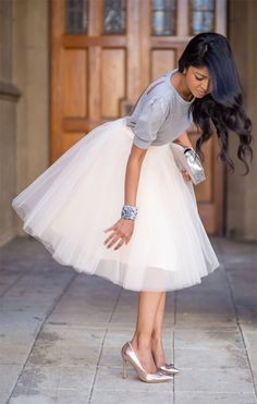 Top Blouse Set and Tulle Ballet White Pleated Circle A Line Flare Full Midi Skirt by Zakscollection on Etsy https://www.etsy.com/listing/247407845/top-blouse-set-and-tulle-ballet-white