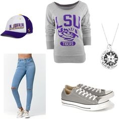 LSU outfit by mwdenise on Polyvore featuring polyvore, fashion, style, Bullhead Denim Co., Converse and Zephyr
