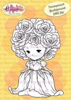 PNG Digital Stamp  Whimsical Rose Sprite  Instant by AuroraWings