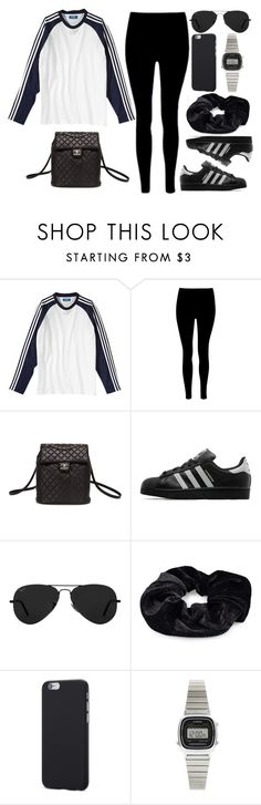 """Style #11096"" by vany-alvarado ❤ liked on Polyvore featuring adidas, Chanel, adidas Originals, Ray-Ban, Pieces and Casio"
